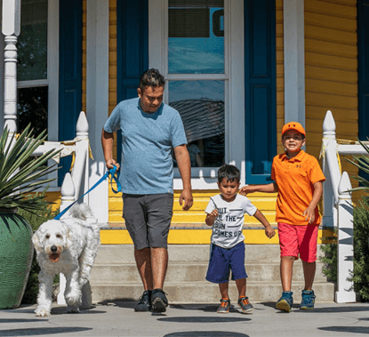 Dad with kids and dog