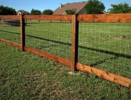 Wire and rail wooden fence