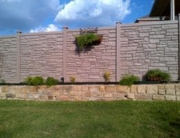Eco-Stone Backyard Fence with Retaining Wall