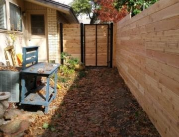 Horizontal Cedar Fence Black Steel Framed Gate