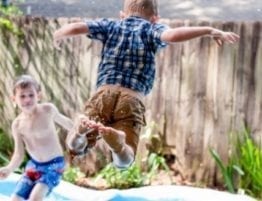 kids playing in backyard