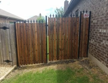 Wrought Iron Fence with Cedar Privacy Slats