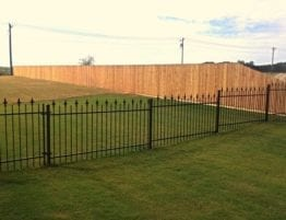 Black Iron Fence Stepped Installation