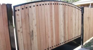Driveway Wooden Gate with Iron Frame