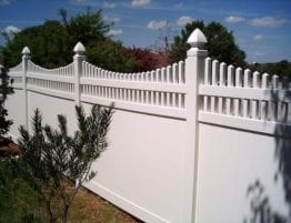 White Vinyl Privacy Fence with Picket Trim