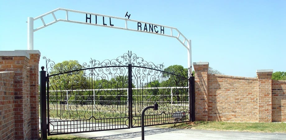 Brick Iron Driveway Gate for Private Ranch