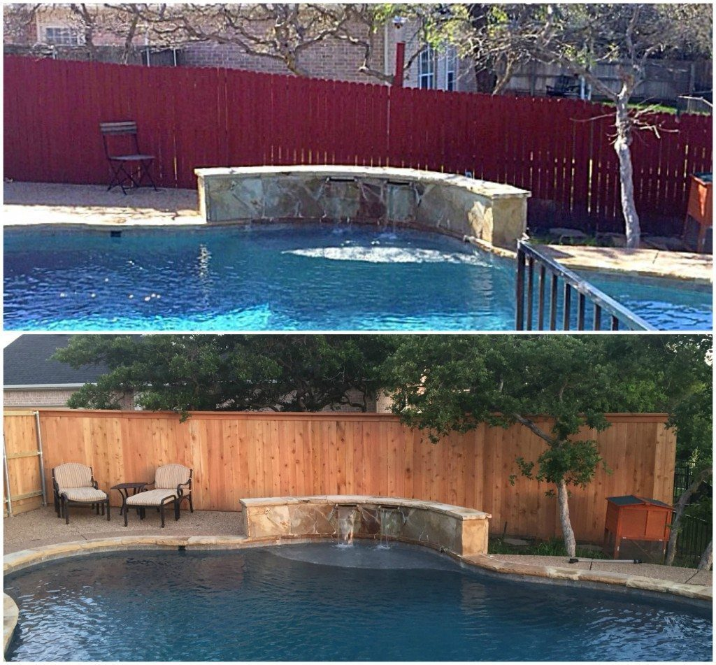 fence by pool before and after